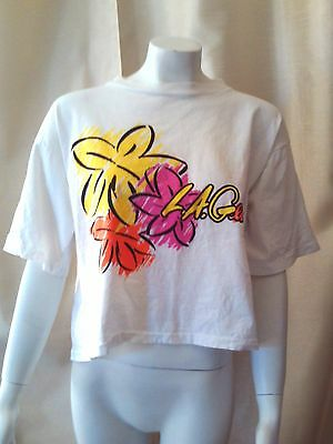 Vtg 80s 90s Womens LA GEAR Crop Top One Size Short T-Shirt Floral USA Cropped