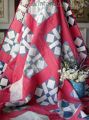 ANTIQUE c1880 Rich Double Pink QUILT Illinois Quilt Project 90x75""
