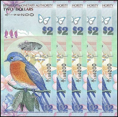 Bermuda 2 Dollars X 5 Pieces - PCS, 2009, P-57, UNC