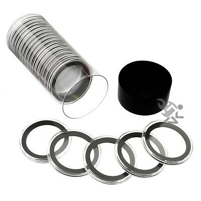 Black Capsule Tube & 20 Air-Tite 38mm Black Ring Coin Holders for Silver Dollar