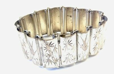 "Antique Victorian Panelled Silver Plated "" Swallows "" Bird Bracelet 1880"