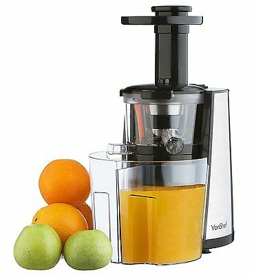 VonShef 150W Slow Masticating Single Auger Juicer Extractor - Yields more Juice