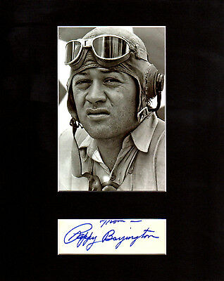 """Gregory """"Pappy"""" Boyington Autographed Mat Piece! WWII Pilot Hero! Flying Tigers!"""