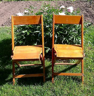2 Vintage Snyder Chair Co. USA Wood Slat Folding Chairs