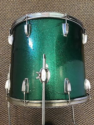 """Vintage Ludwig 3 Ply 16x18 Clear Maple Interior Floor Tom 18"""" Inch Green Sparkle"""