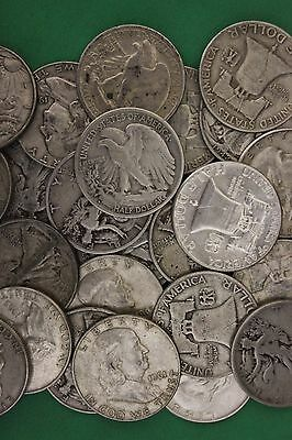 MAKE OFFER 2 Troy Ounces Franklin Walking Liberty Half Dollars Junk Silver Coins