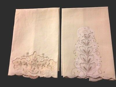 Two Old Vintage Guest Towels  Hand Made Insert, Applique Work, Embroidery,