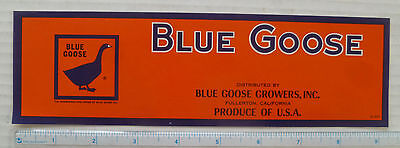 Blue Goose #1  Vintage Crate  Label - Nos - Unused