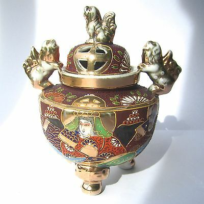Vintage Japanese Satsuma Incense Burner Hand Painted Gilded Foo Dog Lidded