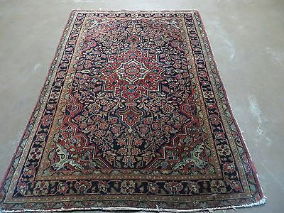 3' X 5' Antique Hand Made  Persian Sarouk Wool Rug Carpet Authentic Blue Red