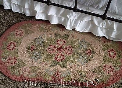 "Lovely Vintage Cottage Hooked Rug 45"" X 23"" Soft Colors Pink Green Blue"