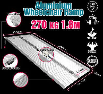 Wheelchair Ramp 1.8M Aluminium Folding Mobility Scooter Portable Loading Ramps
