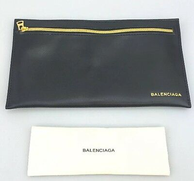 BALENCIAGA Sunglass Eyeglass Black Faux Leather Case/Pouch W/Cloth NEW Authentic