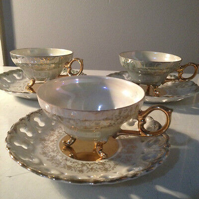 Vintage Royal Sealy porcelan set of 3  tea cups and saucers 3028