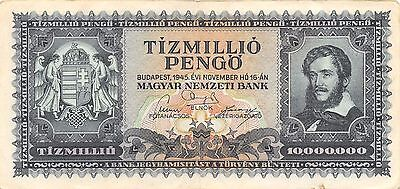 Hungary  10 Million Pengo  16.11.1945  P 123  Circulated Banknote GH14