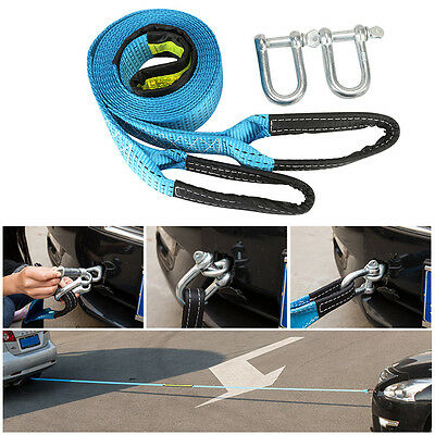 1pc Blue 3m Car Tow Trailer Rope Strap Towing Cable U-Shaped Hooks 7-8 Tons Duty
