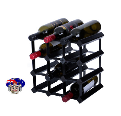 12 Bottle Timber Wine Rack - Black Onyx - The Complete Home Storage Solution