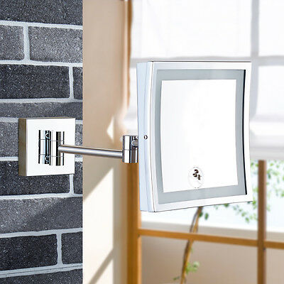 GURUN Square Lighted Vanity Makeup Mirror Chrome Finished Hardwire Wall Mounted