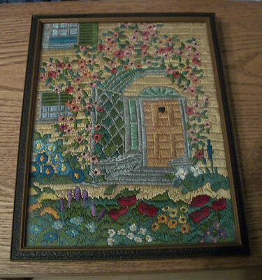Antique Long Stitch Embroidery Needlepoint Framed Picture  Stunning Flowers