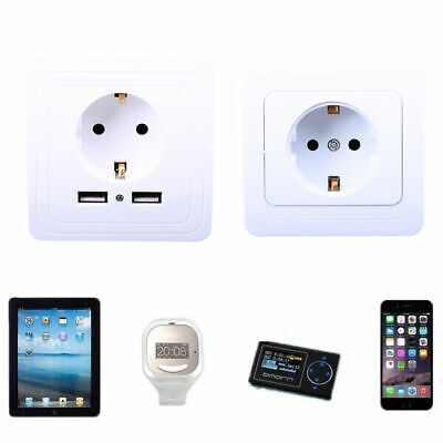 White Dual USB Wall Socket Charger AC Power Adapter EU Plug Outlet Plate Panel