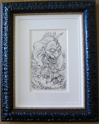 """Todd Schorr. """"the Amphibian Frontier"""" Original Graphite On Paper. Signed. 2007"""