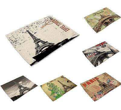 Paris Eiffel Tower Print Insulation Bowl Placemats Dining Pad Western Table Mats