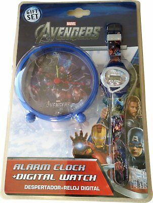 Marvel Avengers Alarm Clock and Digital Watch - A lovely gift set
