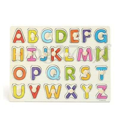 Alphabet ABC Wooden Jigsaw Puzzle Toy Children Kids Baby Learning Educational