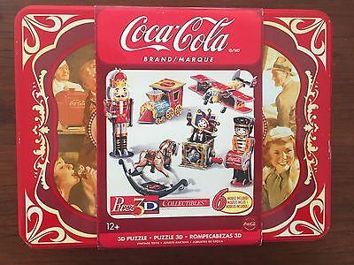 COCA-COLA Puzz3D, 6 Collectible 3D Puzzles in Tin, Irwin Toy Wrebbit RARE NEW