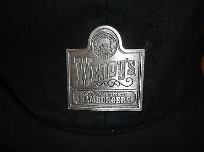 Wendy's Hat Cap Black with Rare Metal Pewter Badge by Vitronic