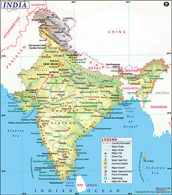 """Map of India (Wall Map) 36"""" x 40.75"""" Paper"""