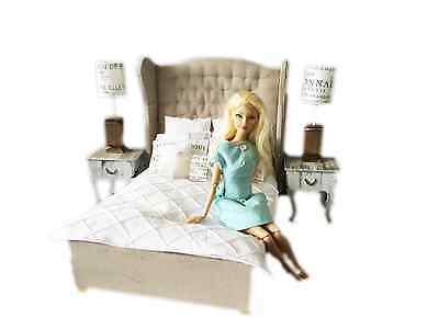 MiniMolly Dollhouse Furniture, BARBIE SIZE Double Bed , bedding  1:6 scale