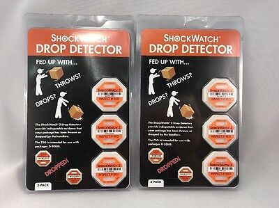 6 CT. (2 pkg of 3) ShockWatch 2 DROP DETECTOR SWDD-75 for Packages up to 50 LBS