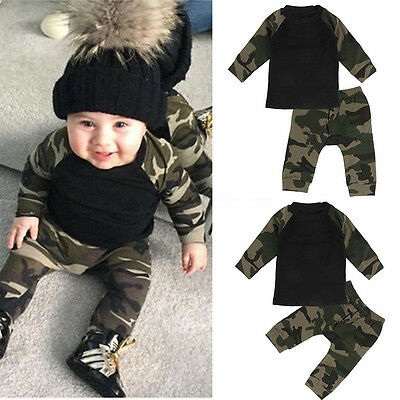 Hot Casual Clothes Newborn Baby Boys T-shirt Tops +Long Pants Camo Outfits Set