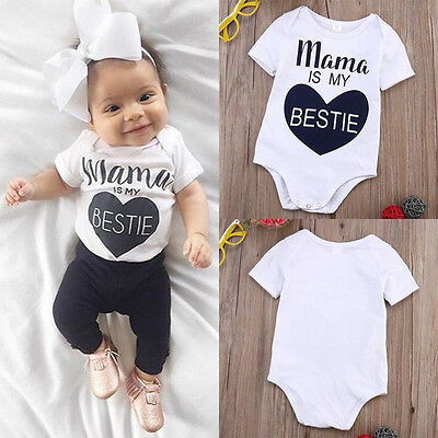 Infant Newborn Cute Baby Romper Heart Print Jumpsuit Bodysuit Outfit Clothes