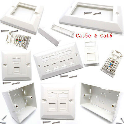RJ45 Cat5e Cat6 Single Double Gang Network Face Plate Back Box Keystone Jack Lot