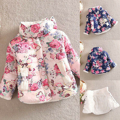 2-6Y Baby Girls Kids Floral Soft Warm Jacket Winter Ski Coat Outerwear Casual