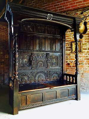 Stunning Antique Canopy Settle Bench Heavily Carved Oak Charles I17th Century