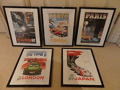 """DISNEY  """"CARS """" SET OF 5 Poster Picture Art PRINTS PROFESSIONALLY FRAMED GLASS"""