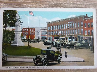 3 post cards Malone NY memorial park, Franklin academy, soldier's monument main