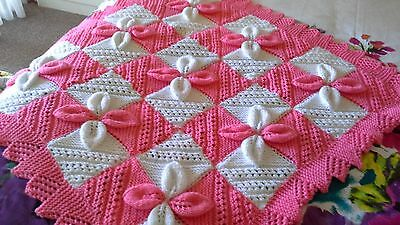 Hand knitted baby blanket leaf design Pink  /  White,  with Pink Lacy edging