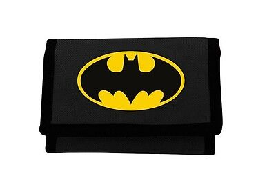 DC Comics Batman Emblem Black Tri-Fold Wallet | Purse with Coin Zip Compartment