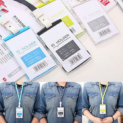 Security Credit ID Card Badge Tag Holder Pass Case With Neck Strap Lanyard US