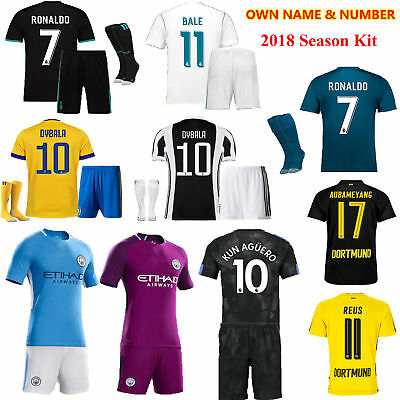 2017-18 Football Soccer Club Jersey Short Sleeve Team Suit Kits Kids Youth+Socks