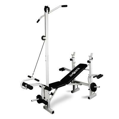 Multi Gym Weight Bench Lat Pull Down Arm Curl Leg Curl Strength Trainer Station