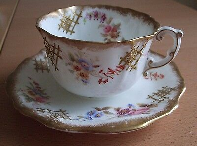 Hammersley Hand Painted Cup & Saucer Dresden Sprays with Masonic decoration