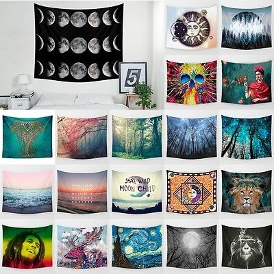 Home Hanging Wall Hippie Galaxy Eclipse Moon Hanging Tapestry Bedspread Throw