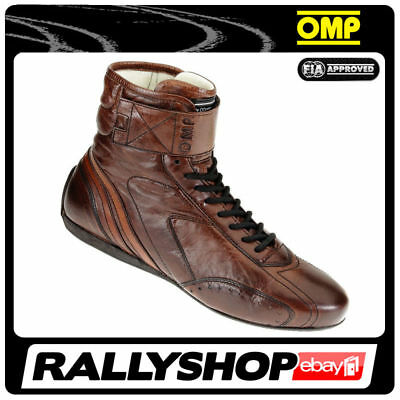 FIA OMP CARRERA HIGH Race shoes Brown Rally Sport Boots Leather 8856 2017