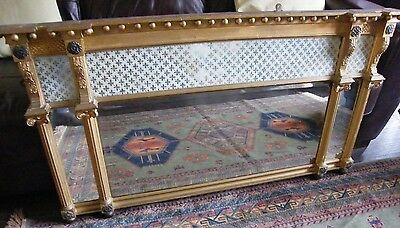 A ANTIQUE GILDED REGENCY OVER MANTEL MIRROR c1800