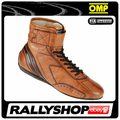 FIA OMP CARRERA HIGH Race shoes Light Brown Rally Sport Boots Leather 2017